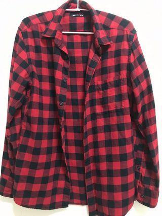 lativ紅黑格紋毛呢襯衫(男生可穿 #半價衣服拍賣會