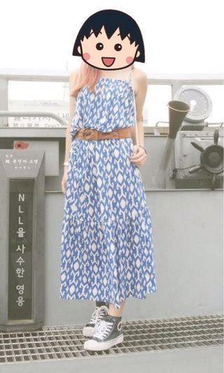 Gap Long Dress 吊帶 連身 民族 渡假風 長裙