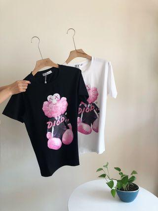 Dior 19春夏新款粉色公仔時尚百搭短袖T恤 順豐包郵