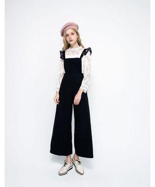 轉賣全新 LOVFEE 愛麗絲荷葉吊帶寬褲 黑S #半價衣服拍賣會