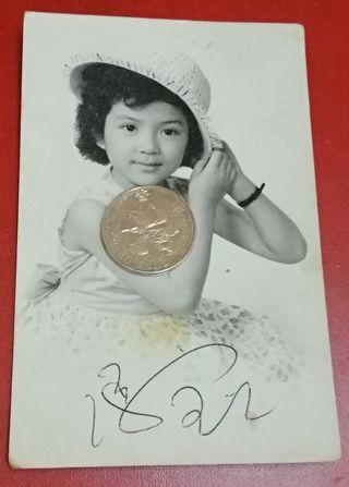 A vintage photo of HK famous movie child star. (with signature)