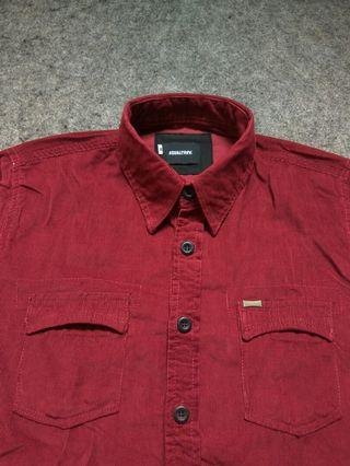 EQUALTREV Maroon Corduroy Shirt Long Sleeve Size M