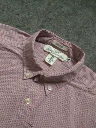 H&M Button-down Micro Gingham Shirt Long Sleeve Size M tag