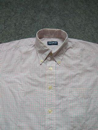 UNIQLO Button-down Check Shirt Short Sleeve Size S tag
