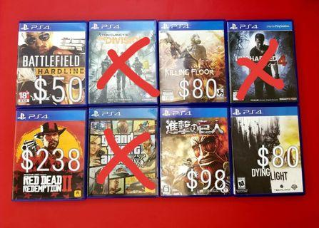 ⚠️(PS4二手遊戲)⚠️Battlefield Hardline (英文版)$50 / The Division(中文版)$50 / Killing Floor2(中文版)$80 / Uncharted4 (中文版)$118 / Red Dead 2 (中文版)$238 / GTA5(中文版)$128 / 進擊之巨人(日文版)$98 / Dying Light(英文版)$80