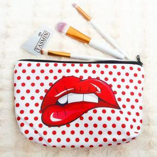 Yasmin Cute Travel Cosmetic Pouch For Raya - LIPSY RED