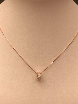 玫瑰金純銀頸鍊(925)