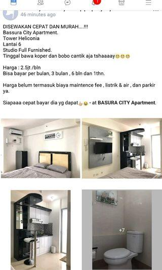 Bassura City studio fully furnished.