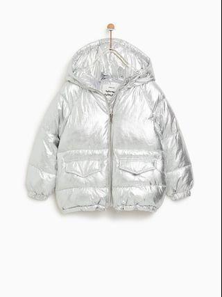 Silver puffer jacket XS