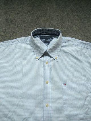 TOMMY HILFIGER Button-down Check Shirt Long Sleeve Size XL