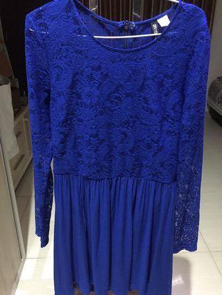 H&M blue lace dress