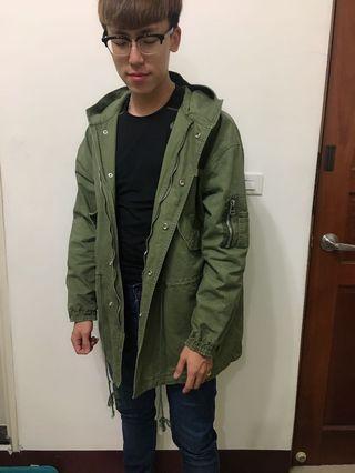 🚚 軍綠 長版 工裝 外套