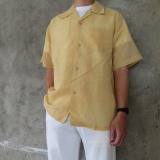 🌴80s鵝黃色麻料古巴領復古襯衫 男女皆可Vintage 日本帶回古著