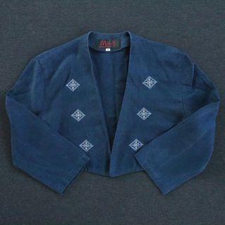 🌴90s日本製麻料藍染刺繡短版小外套 女款Vintage 日本帶回古著