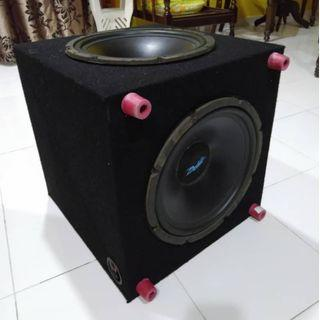 "CAR SUBWOOFER DOUBLE 12"" with custom box & carpet"