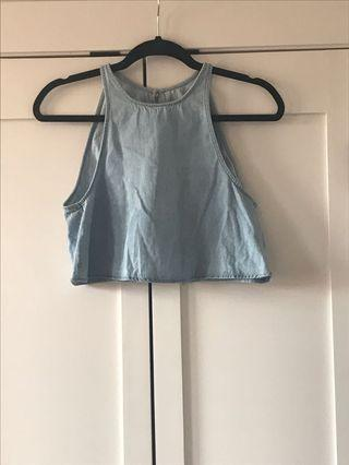 Open back denim crop top, American Apparel, Size XS