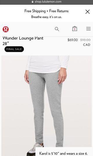 Lululemon Wunder Lounge Pant Size 2