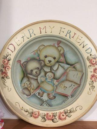 (手工手繪)泰迪熊木器彩繪掛圖/壁掛擺飾品/裝飾品/藝術品