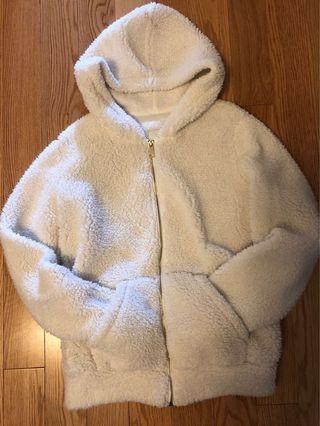F21 White Oversized Sherpa Jacket (Size S)