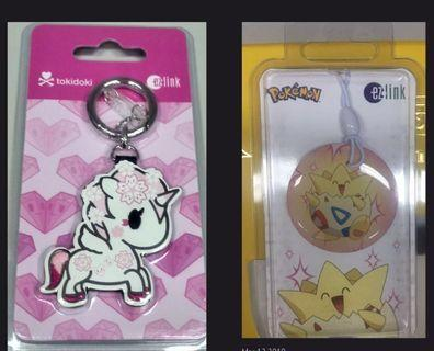 BNIP - 1 Ezlink Tokidoki Charm + 1 Ezlink Pokemon Charm - 3 years, BOTH No load value., BOTH for $57