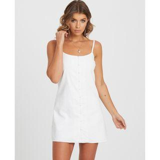 Atmos&Here White Button Slip Dress