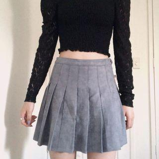 Korean Grey Suede Tennis Skirt