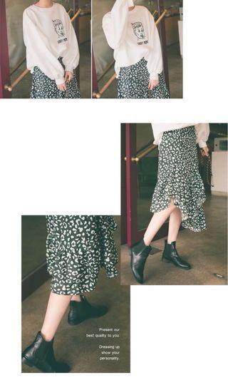 🚚 綠色豹紋 下襬不規則長裙