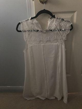 White lace high neckline dress from Europe