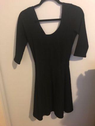 Black woven skater dress