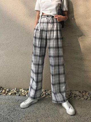 高腰黑白格紋寬褲