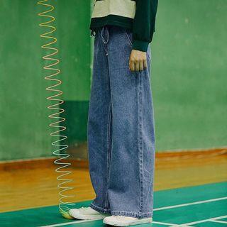 抽繩淺藍牛仔寬褲