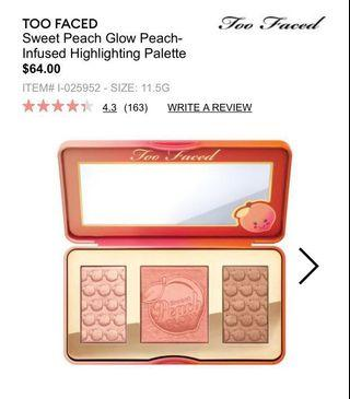 Too Faced: Sweet Peach Glow Highlighting Palette