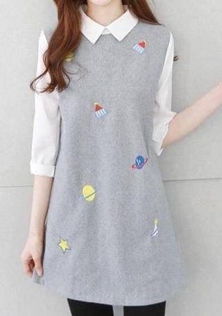 🚚 小行星刺繡假兩件洋裝 全新