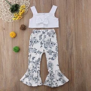 Instock - 2pc white floral set, baby infant toddler girl