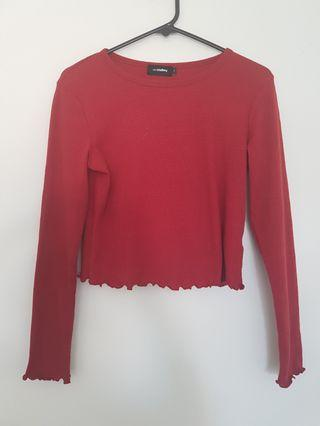Valley Girl Red Long Sleeve Top - Size S