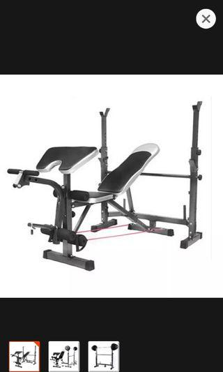 Barbell stand and bench