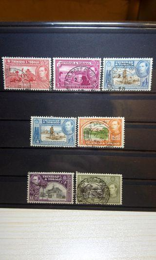 1938 Trinidad & Tobago King George VI Stamps pack of 7 pcs British colony