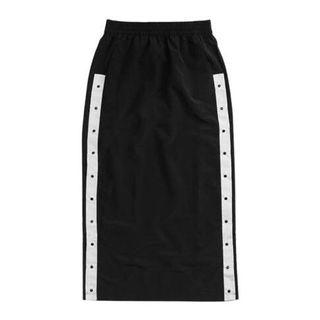 Black and white popper midi skirt
