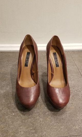 zara round toe brown leather heels