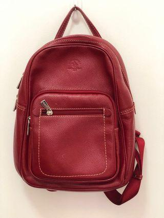 Red leather bag pack