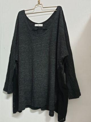 🚚 時尚 鐵灰黑  兩側蕾絲 飛鼠袖 造型上衣