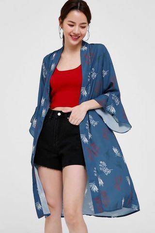 Love Bonito Cherelle Printed Longline Kimono (Teal)