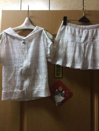 大童假二件蕾絲套裝
