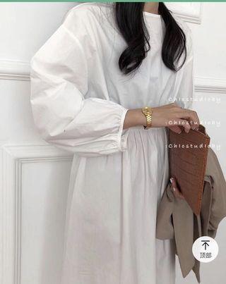 韓國 白色洋裝