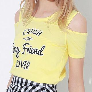Yellow Off Shoulder T shirt (M Size)黃色背心小off shoulder衫