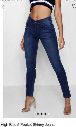 Boohoo- high rise 5 pocket skinny jeans