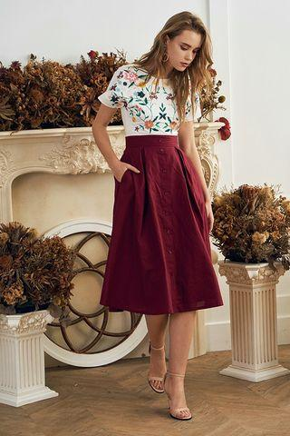 🚚 Theclosetlover Gin skirt wine midi