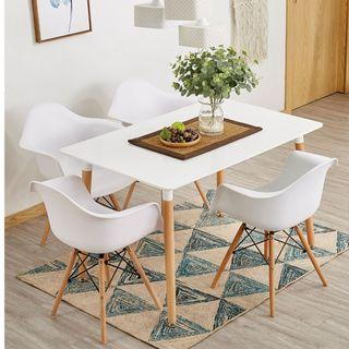 NORDIC Dining Table Set With 4 Armchair