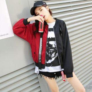 Black Red Patchwork Casual Bomber Jacket