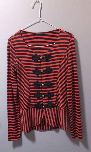 Stripe cardigan/top sz 8
